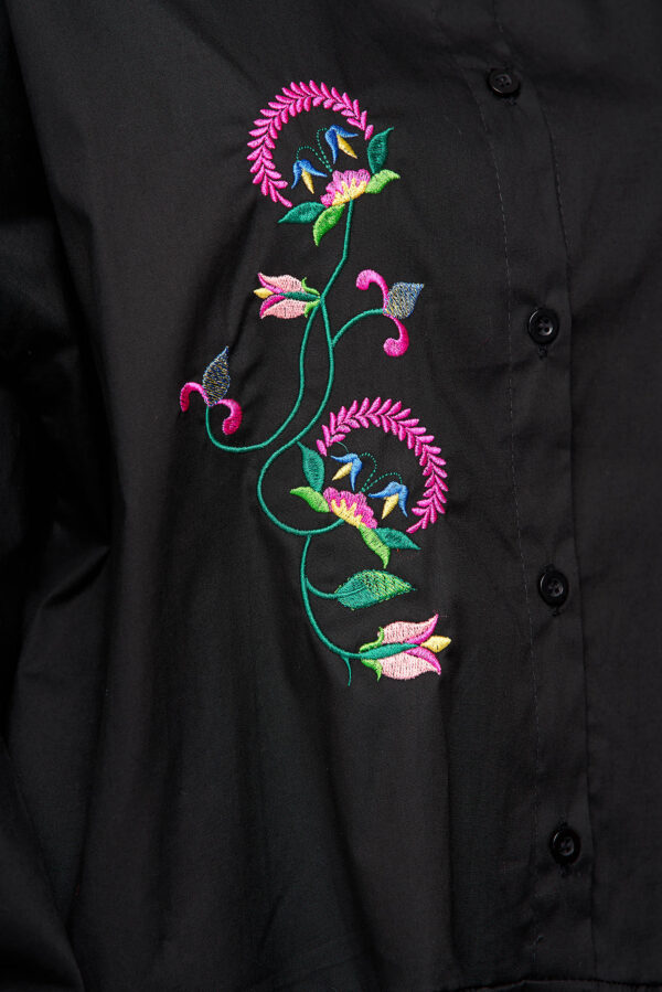 Black Dress Cotton Loose Fit With Ruffle Details Embroidered.