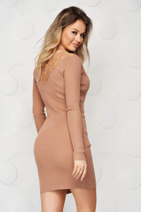 Cappuccino Dress Knitted From Elastic And Fine Fabric From Striped Fabric Pencil With Lace Details