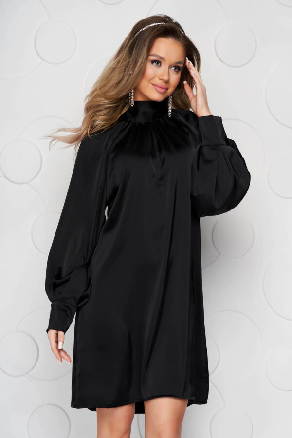 Black Dress From Satin With Puffed Sleeves Loose Fit Bow Accessory