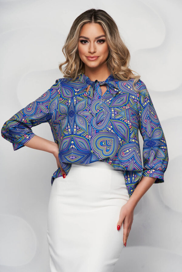 Blue Women`s Blouse With Floral Print Airy Fabric