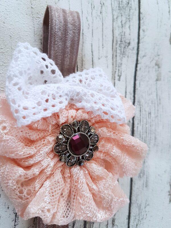 Peach Flower-Bow Headband
