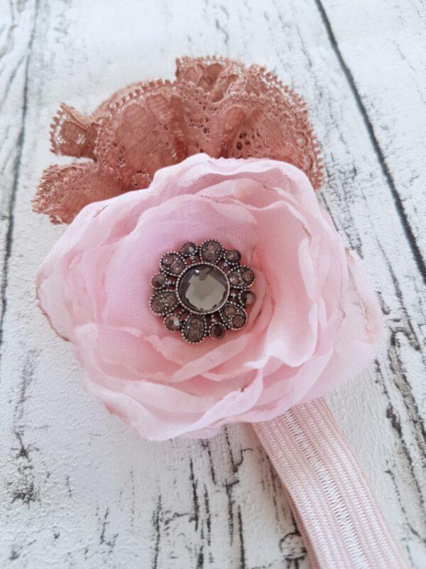 Light Pink/Brown Flowers Headband