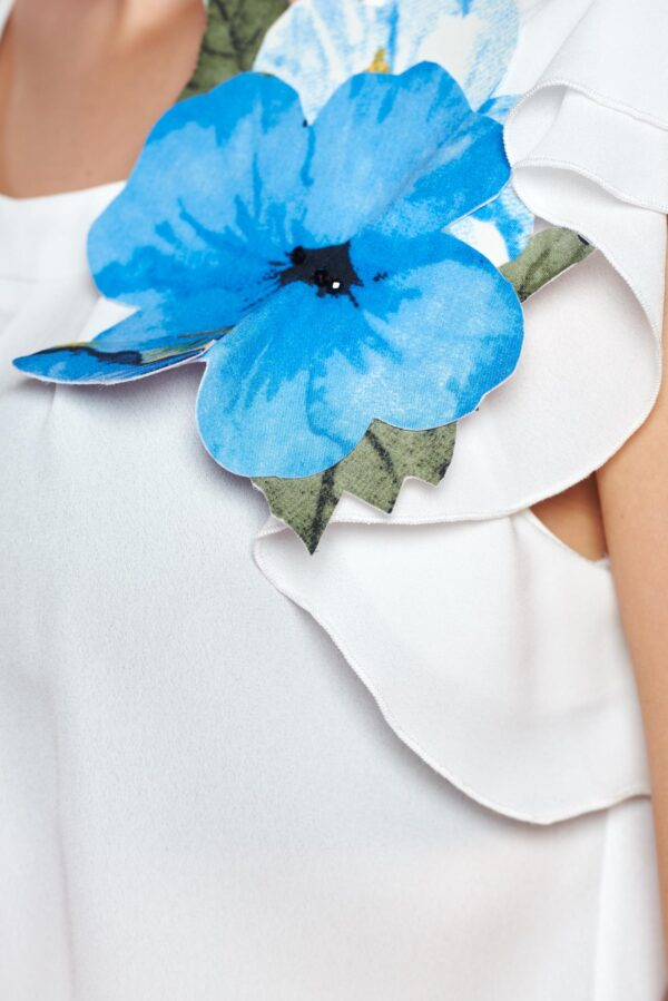 Blue Short Sleeve Women`s Blouse With Floral Details