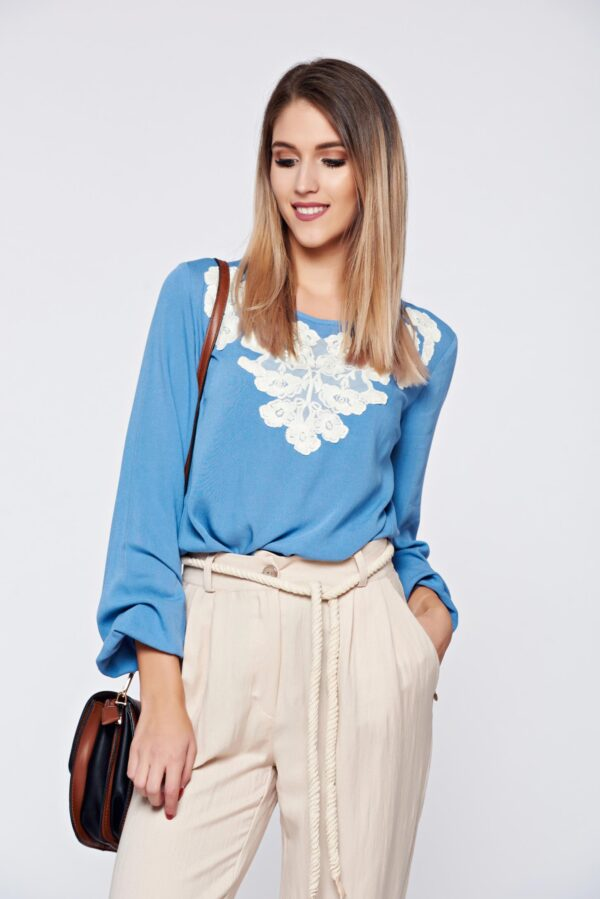 Flared embroidered blue office women`s blouse