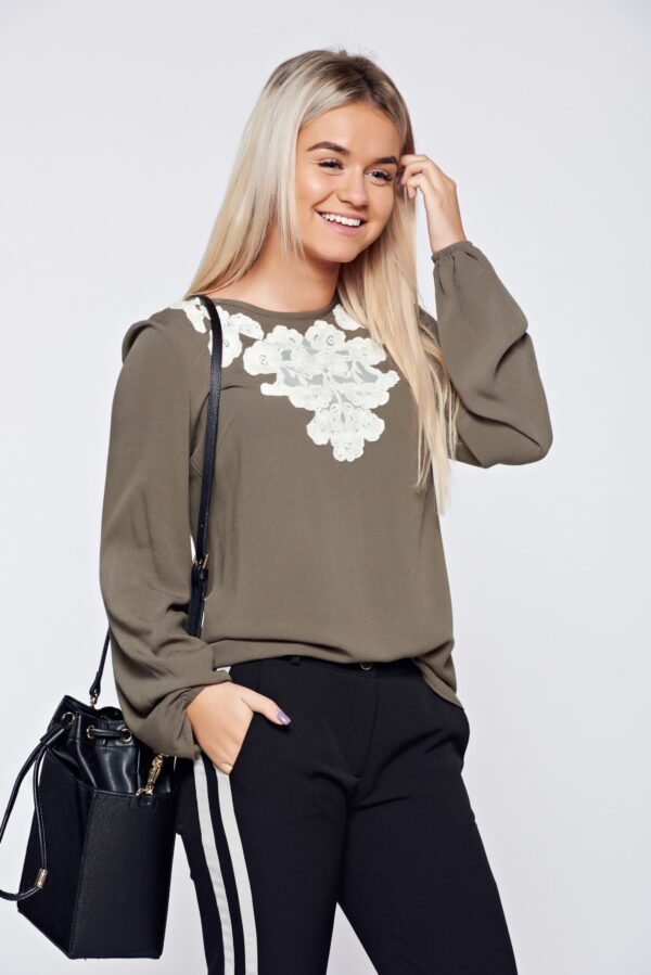 Flared embroidered darkgreen office women`s blouse