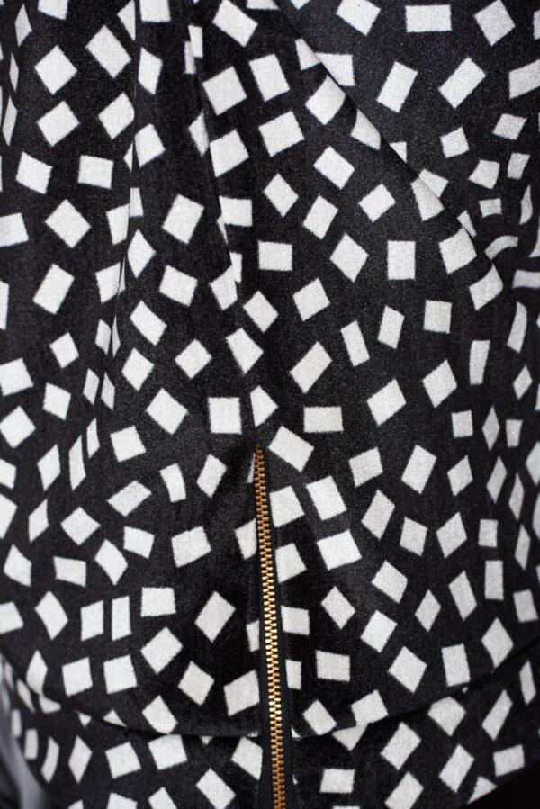 Black Hoodie With Print Details Of Velvet