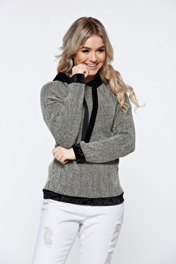 Black Casual Knitted Hoodie With Velvet Insertions