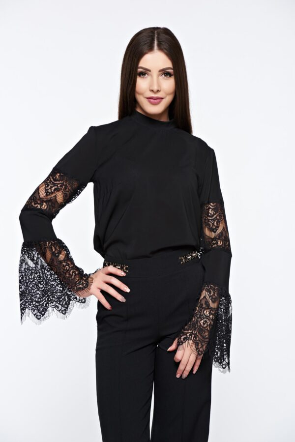 Black Women`s Blouse Elegant With Bell Sleeve Laced