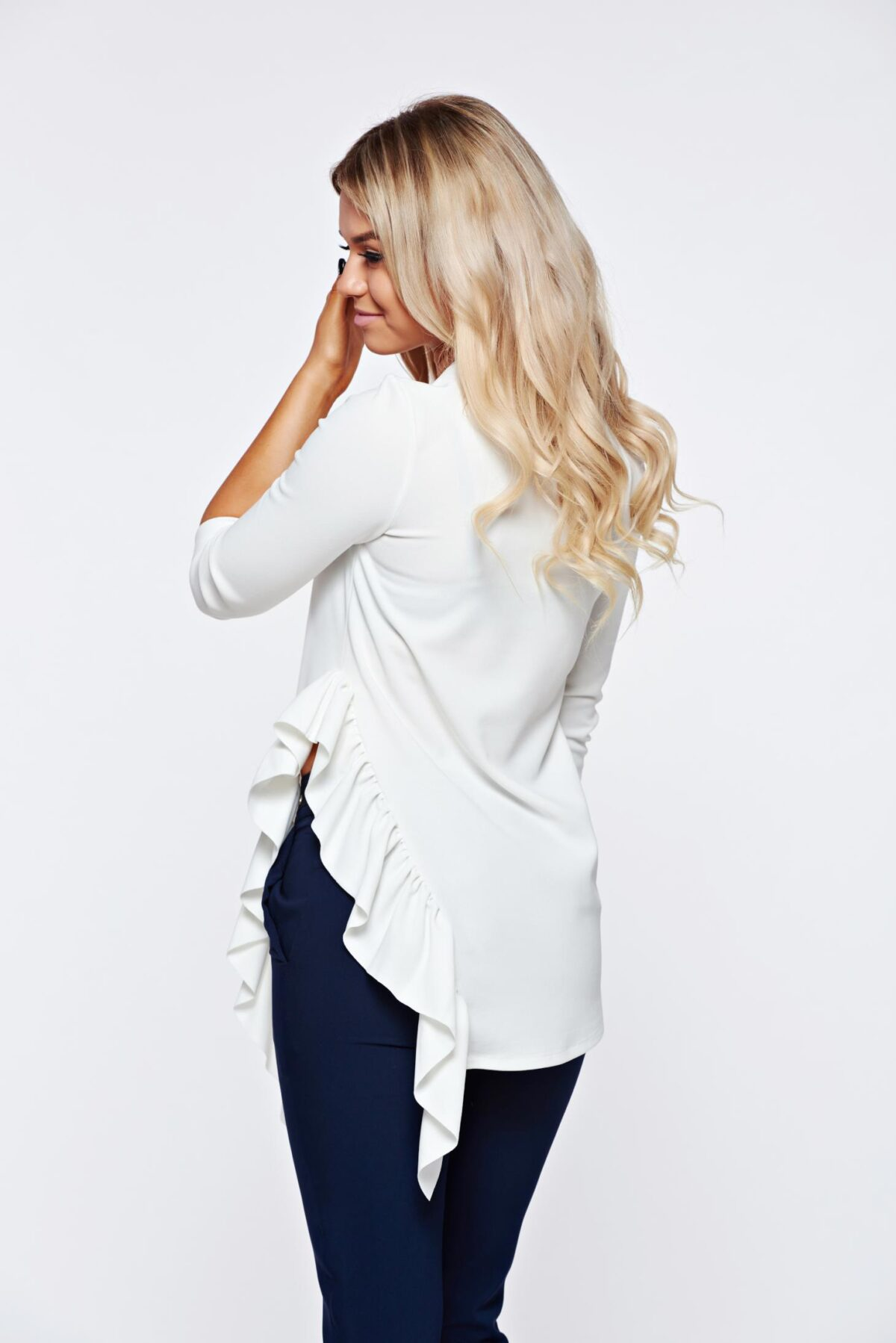 White Women`s Blouse Office Asymmetrical Of Elastic Fabric With Ruffle Details
