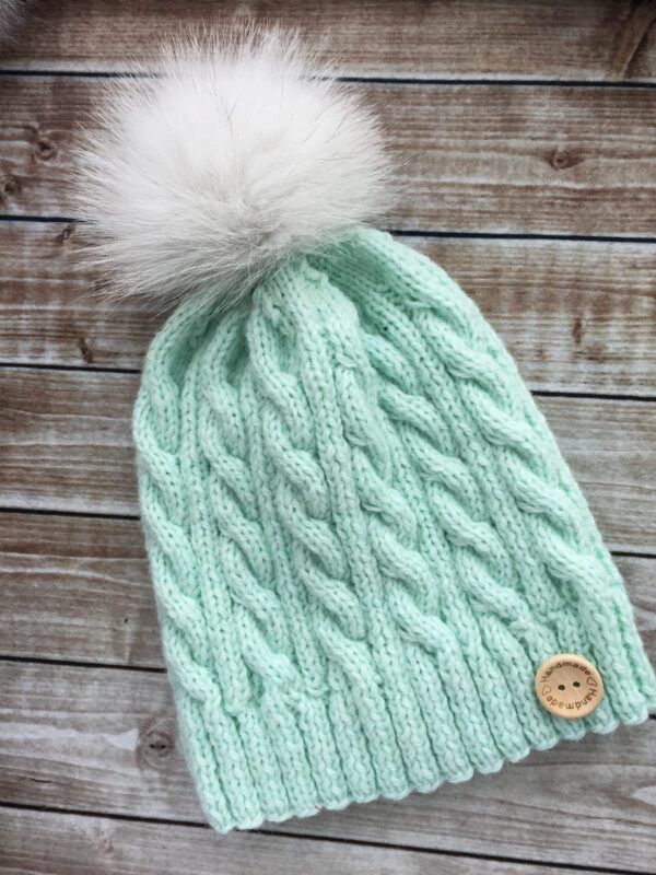 Aqua Fur Pom Pom Hat