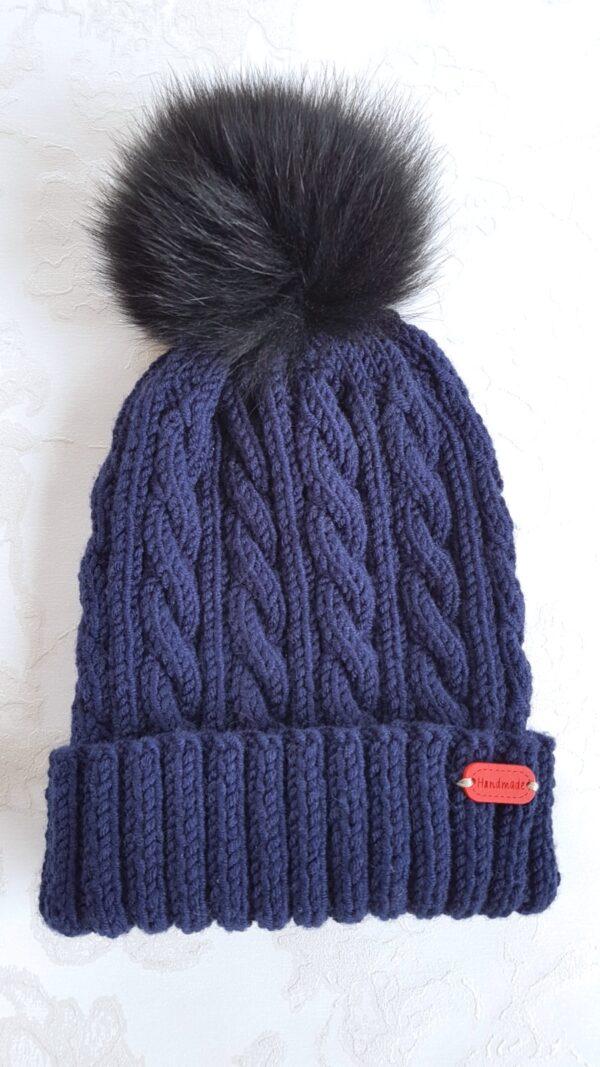 Dark Blue Fur Pom Pom Hat