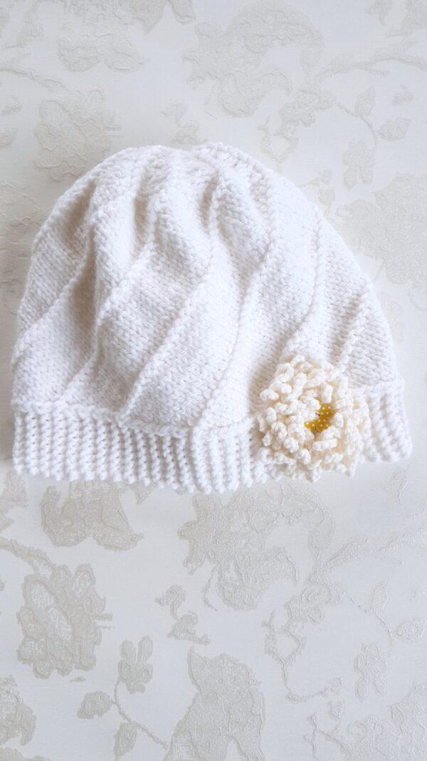 Hand Knitted White Flower Hat