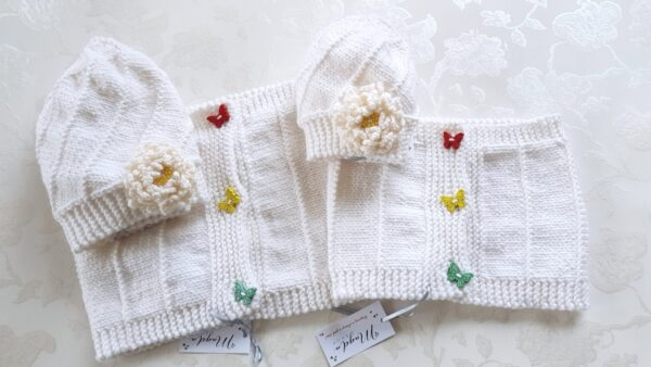 Hand Knitted White Flower Warmer