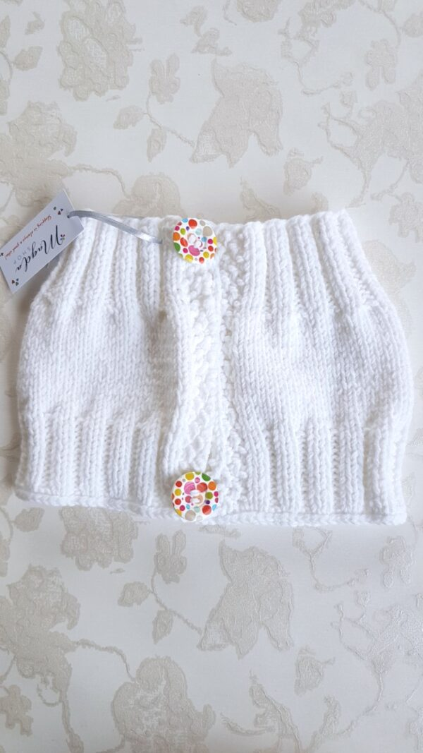 Hand Knitted White Warmer