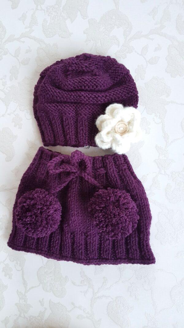 Hand Knitted Dark Violet Warmer
