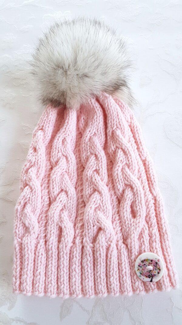 Ballerina Pink Real Fur Pom Pom Beanie