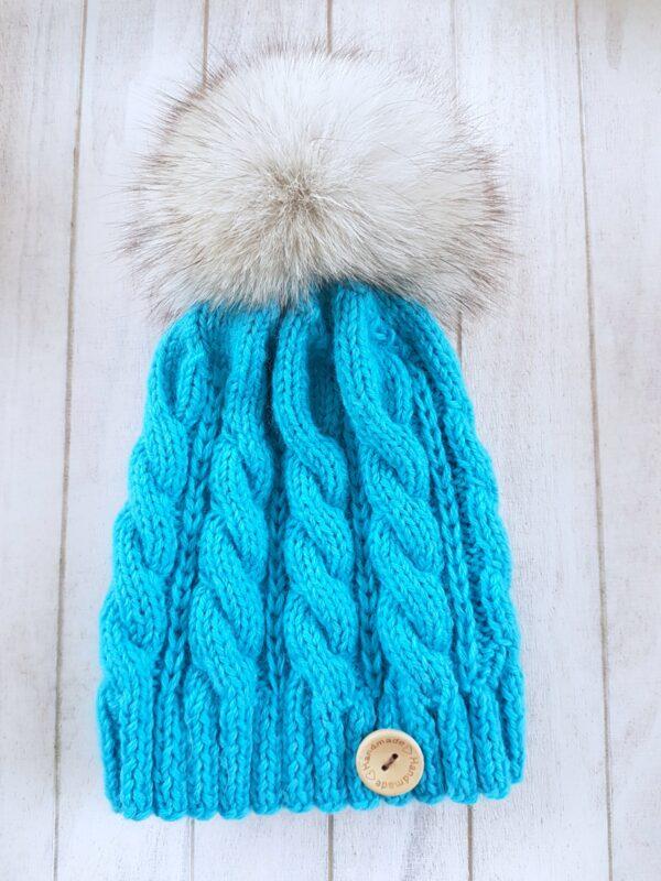 Blue Real Fur Pom Pom Beanie