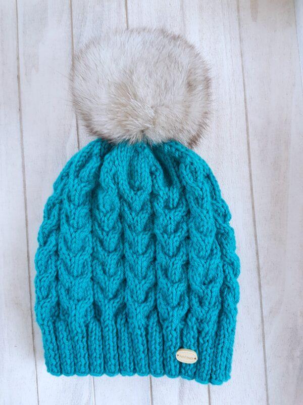 Azure Real Fur Pom Pom Beanie