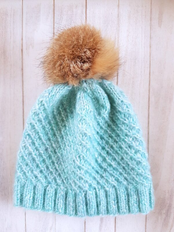 Arctic Green  Real Fur Pom Pom Beanie