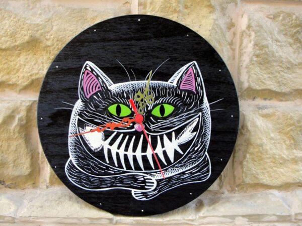 Funny Cat Painted Clock