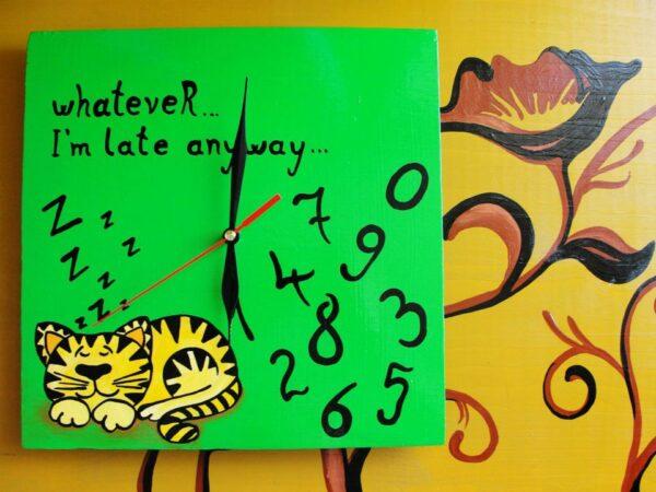 Sleeping Yellow Cat Painted Clock