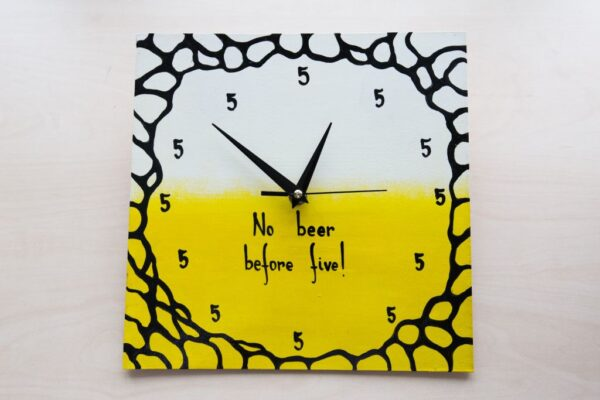 No Beer Before Five Painted Clock
