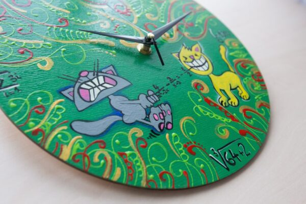 Math And Cats Painted Clock
