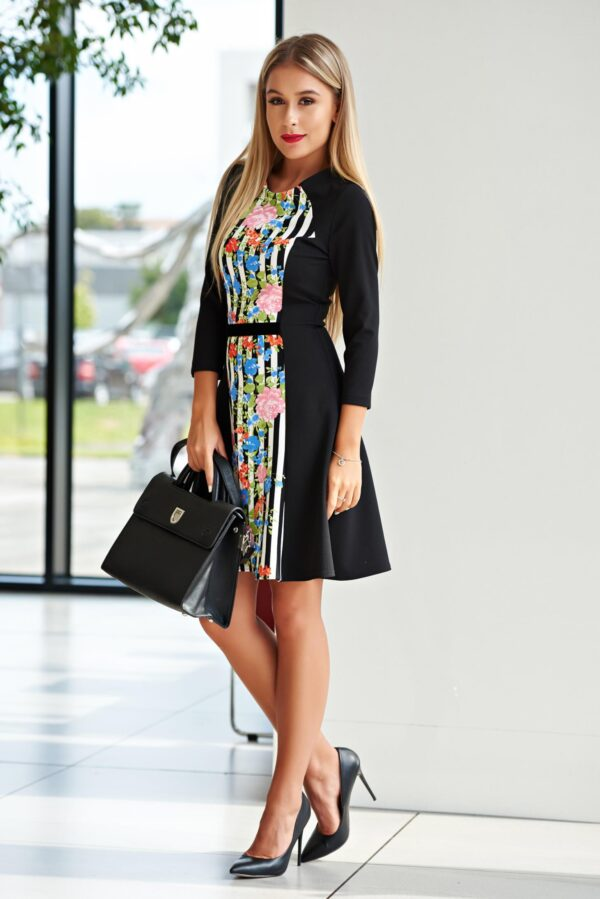 Black Dress Office Cloche 3/4 Sleeve