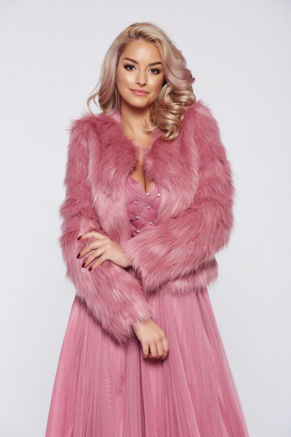 Rosa Elegant Ecological Fur With Inside Lining