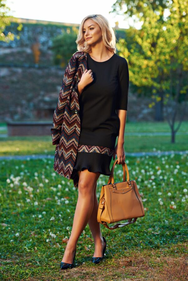 Black Daily Fall In Love A-Line Dress With Pleats Of Material
