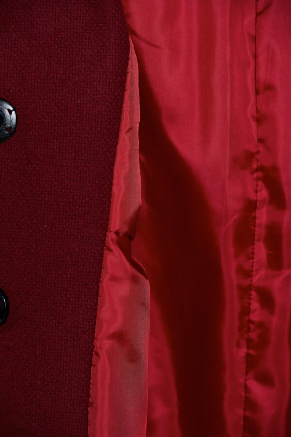 Burgundy Elegant Straight Embroidered Coat