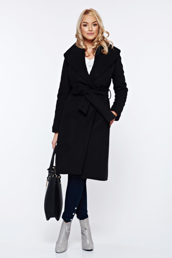 Elegant Cloche Embroidered Accessorized With Tied Waistband Black Coat Of  Wool