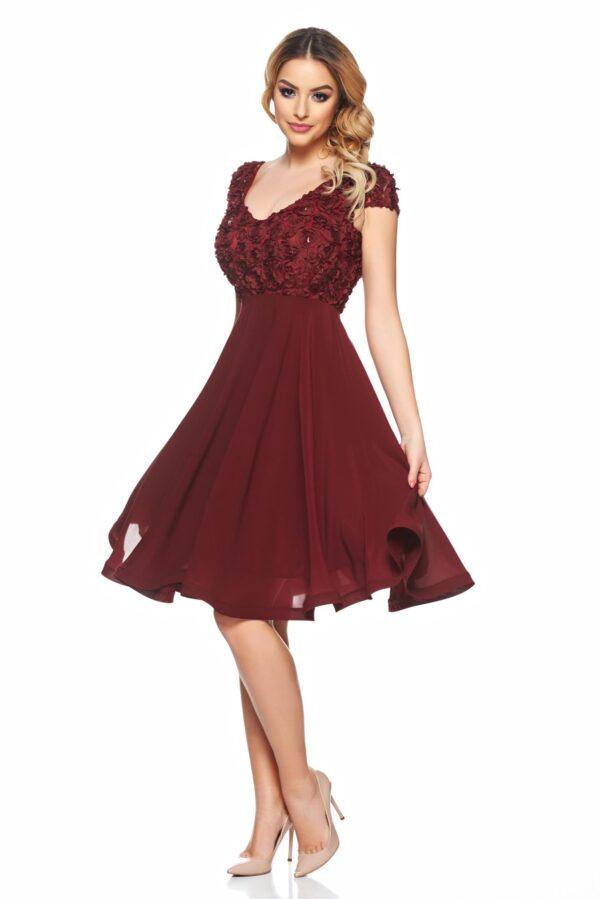 Burgundy Short Sleeve Occasional Dress Cloche