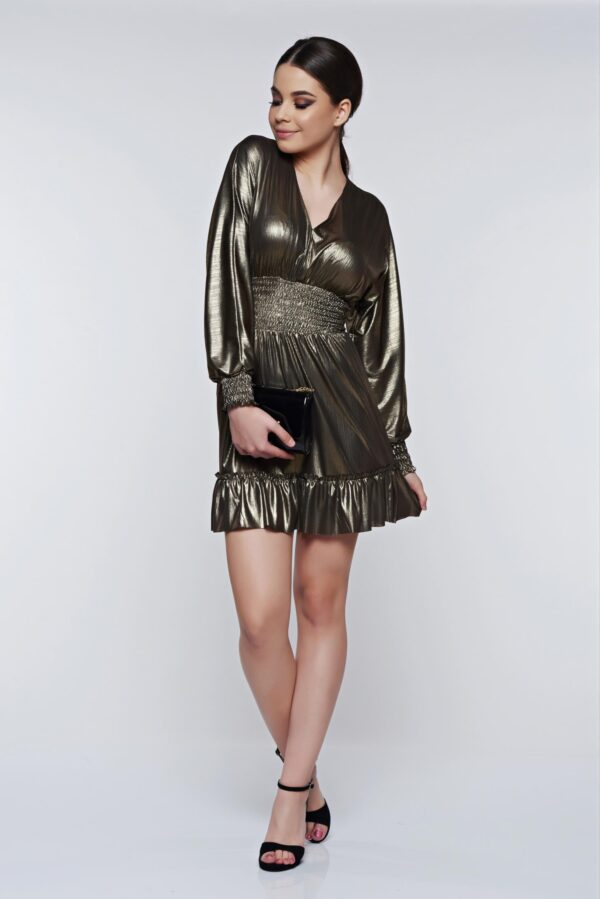Gold Dress Occasional With V-Neckline With Metallic Aspect