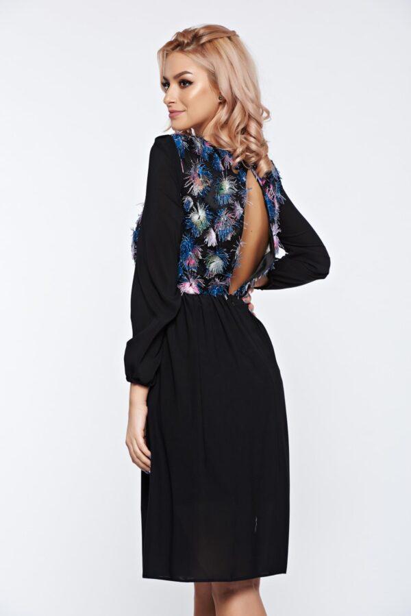 Black Occasional Cloche Bareback Dress