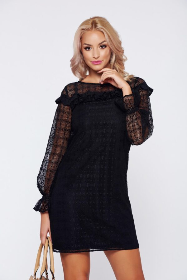 Black elegant laced dress with ruffle details