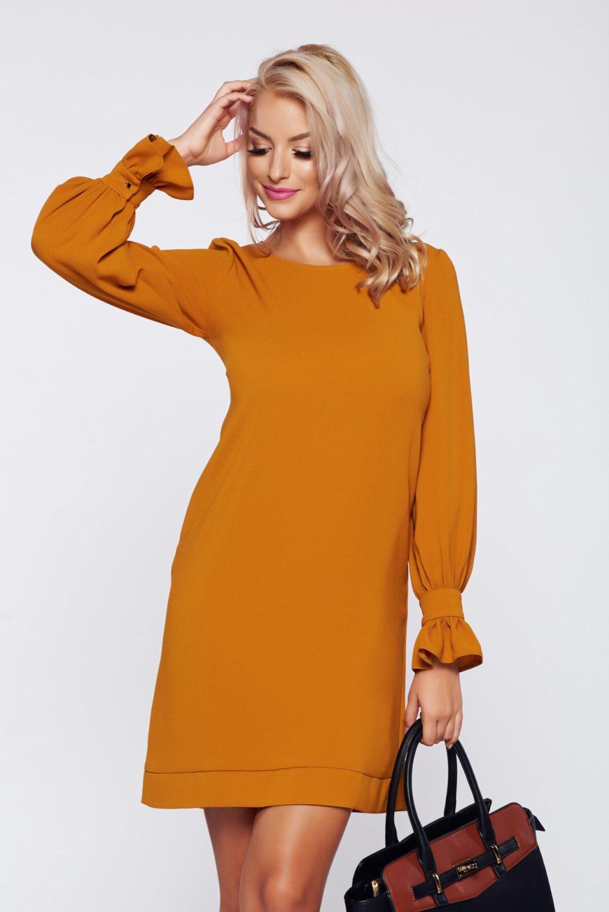Yellow elegant flared dress with detachable collar