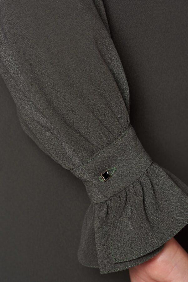 Darkgreen elegant flared dress detachable collar
