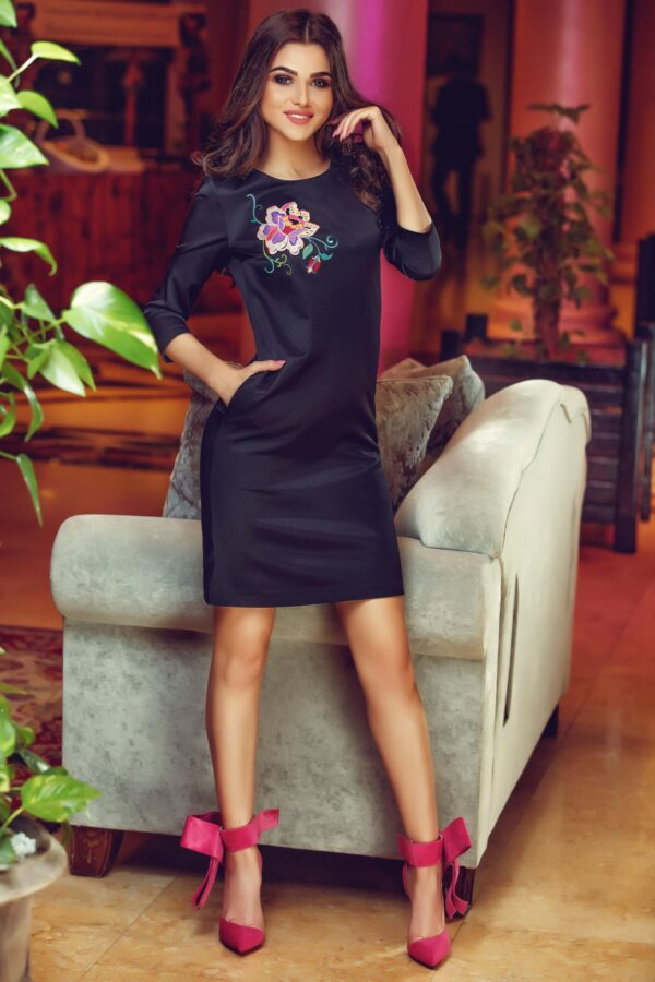 Theo Rose Enigma Black Embroidered Dress