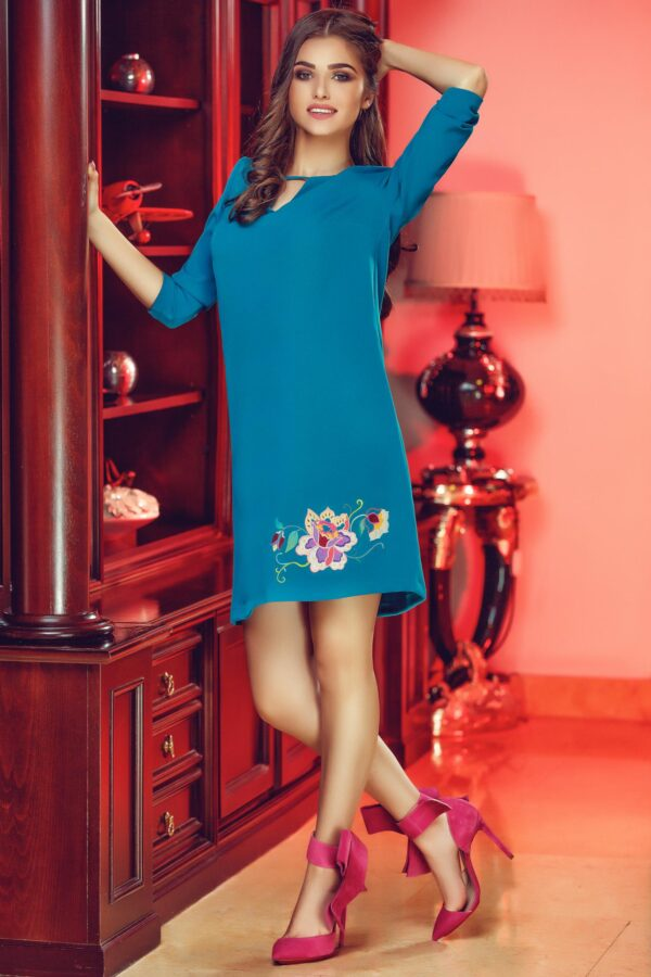 Theo Rose Magic Turquoise Embroidered Dress