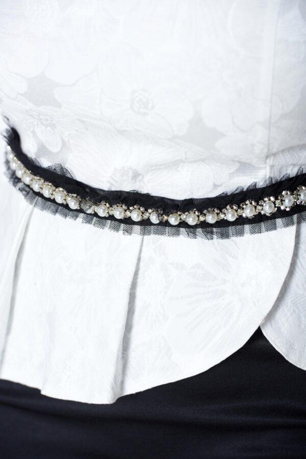 Black dress elegant strass accessorized with tied waistband