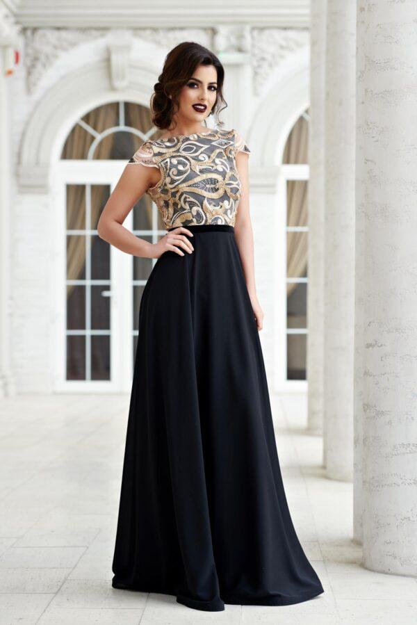 Black laced evening bareback dress