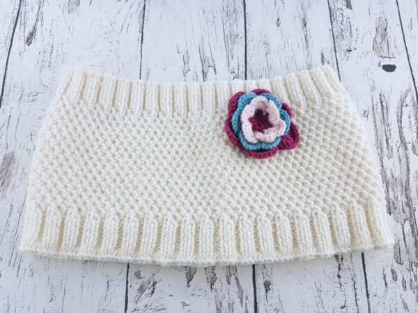 Knitted Warmer  White With Flowers