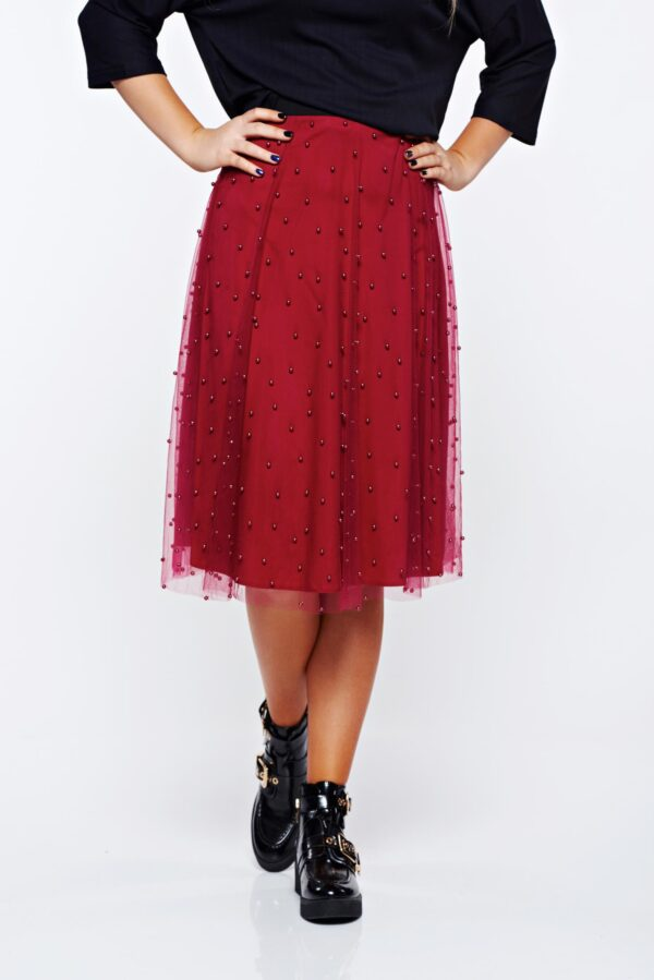 Burgundy Skirt Casual Of Tulle With Small Beads Embellished Details And Inside Lining