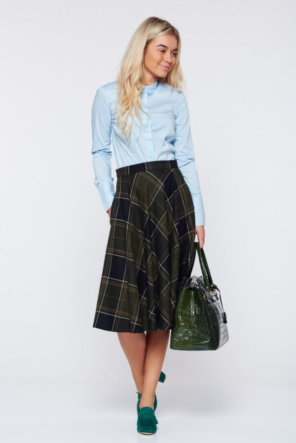 Darkgreen skirt office cloche cotton