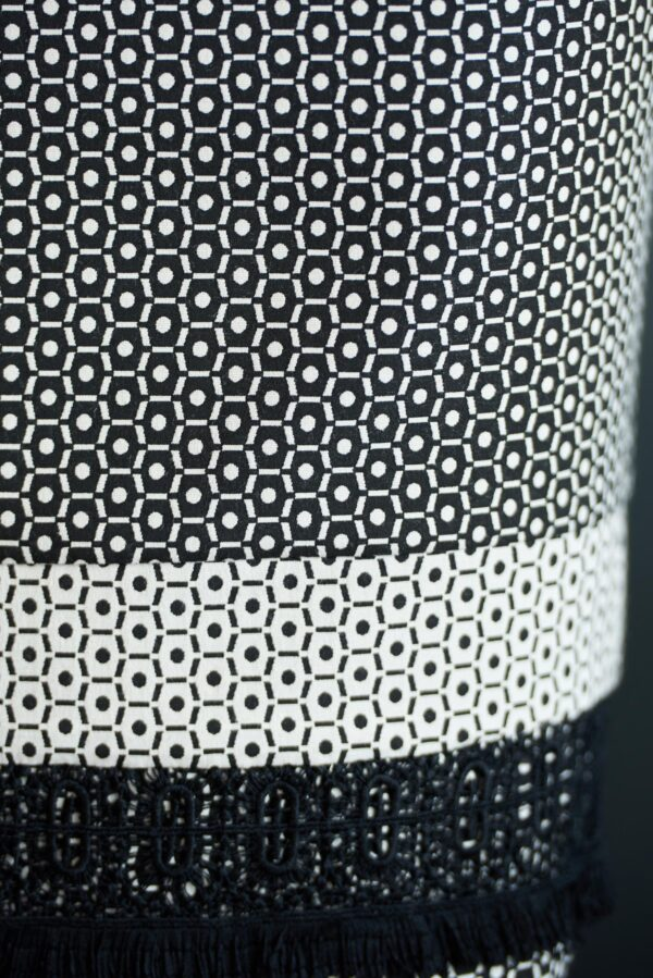 Black office pencil skirt with geometrical print