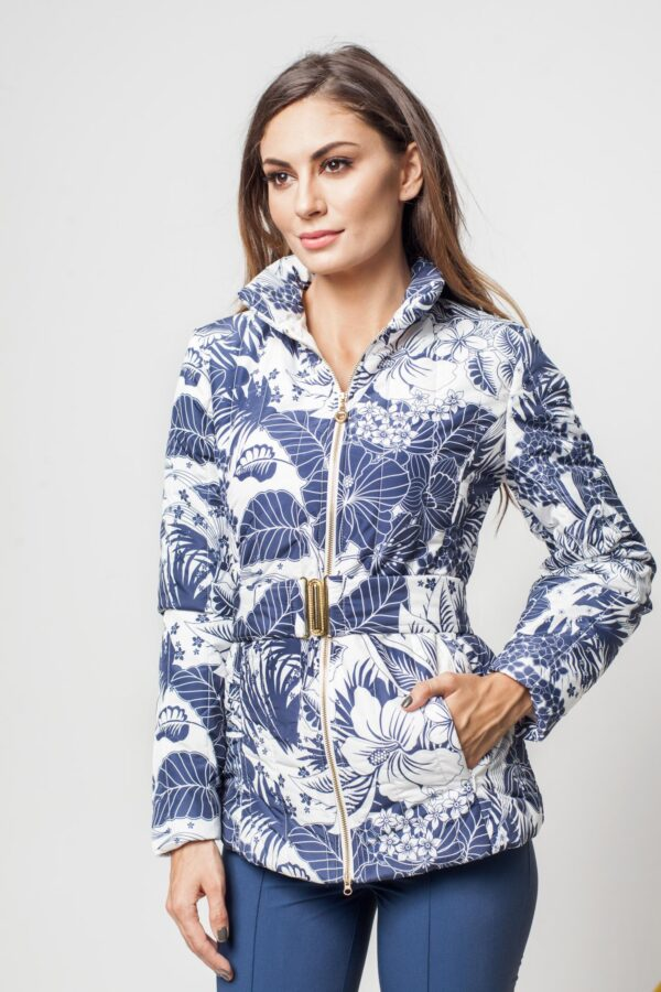 Blue Casual Jacket With Floral Prints Accessorized With Tied Waistband