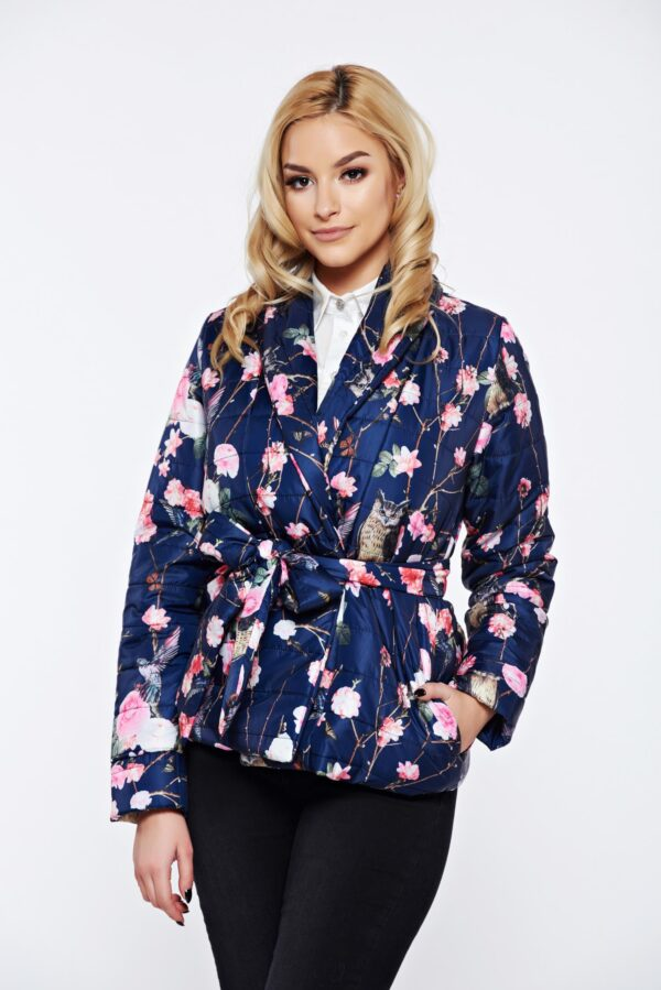 Blue Casual From Slicker Jacket With Pockets