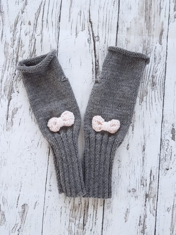 Gray -Very Soft Pink Bow Fingerless Mittens