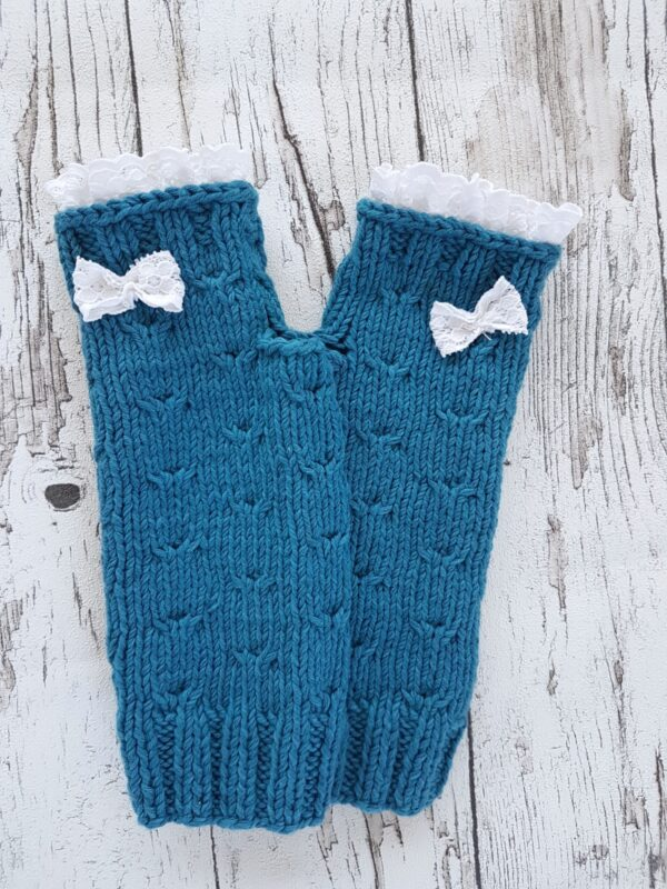 Blue-White Lace Bow Fingerless Mittens
